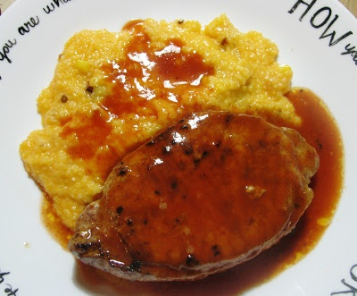 Chef Lamas' Award Winning Pork Tenderloin with Smoked Cheddar Chipotle Sweet Corn Grit Cakes from Crazy English Woman Cooks!