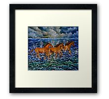 Framed Print, painting, art, horses, equine, animals, running, cloudy, sky, dramatic, atmospheric, wildlife, sea, waves, ocean, storm, turmoil, wall art, wall decor, decorative items, earthly colors, blue, vivid, colors, colorful, redbubble