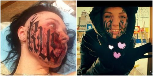 Girl tattoos boyfriends name on face... after knowing him for only a ...