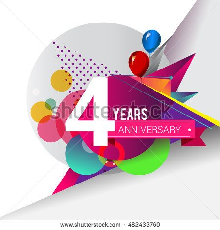4 years Anniversary logo, Colorful geometric background vector design template…