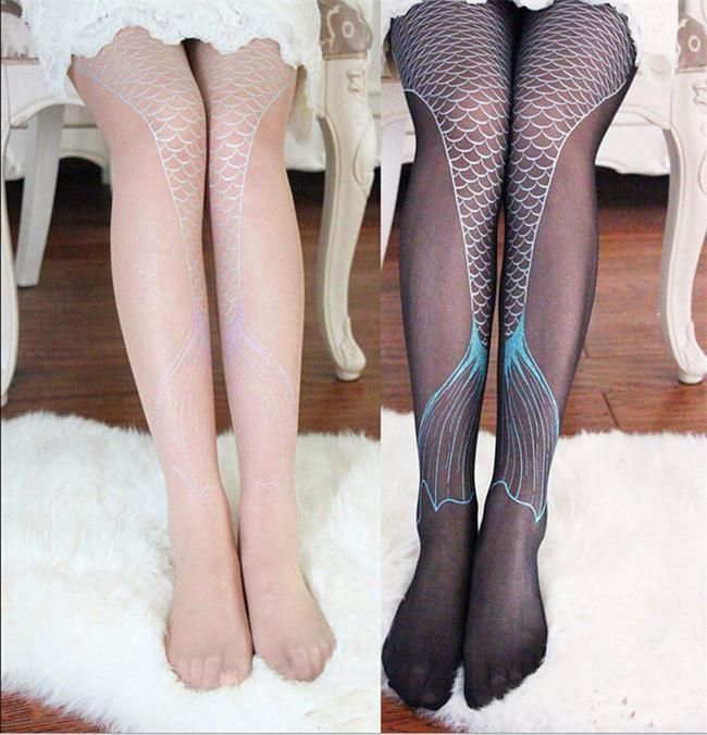 Mermaid Tail Print Thin Tattoo Tights Women Girls Sexy Stockings Black Nude #Unbranded #Pantyhose