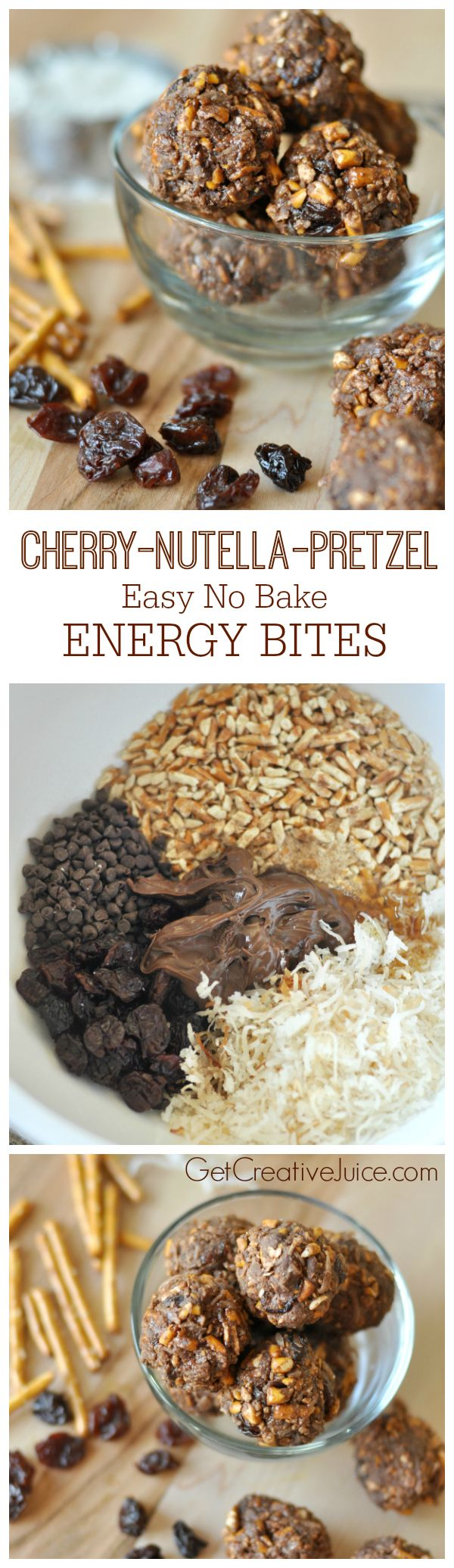 Cherry, Nutella, & Pretzel no bake energy bites