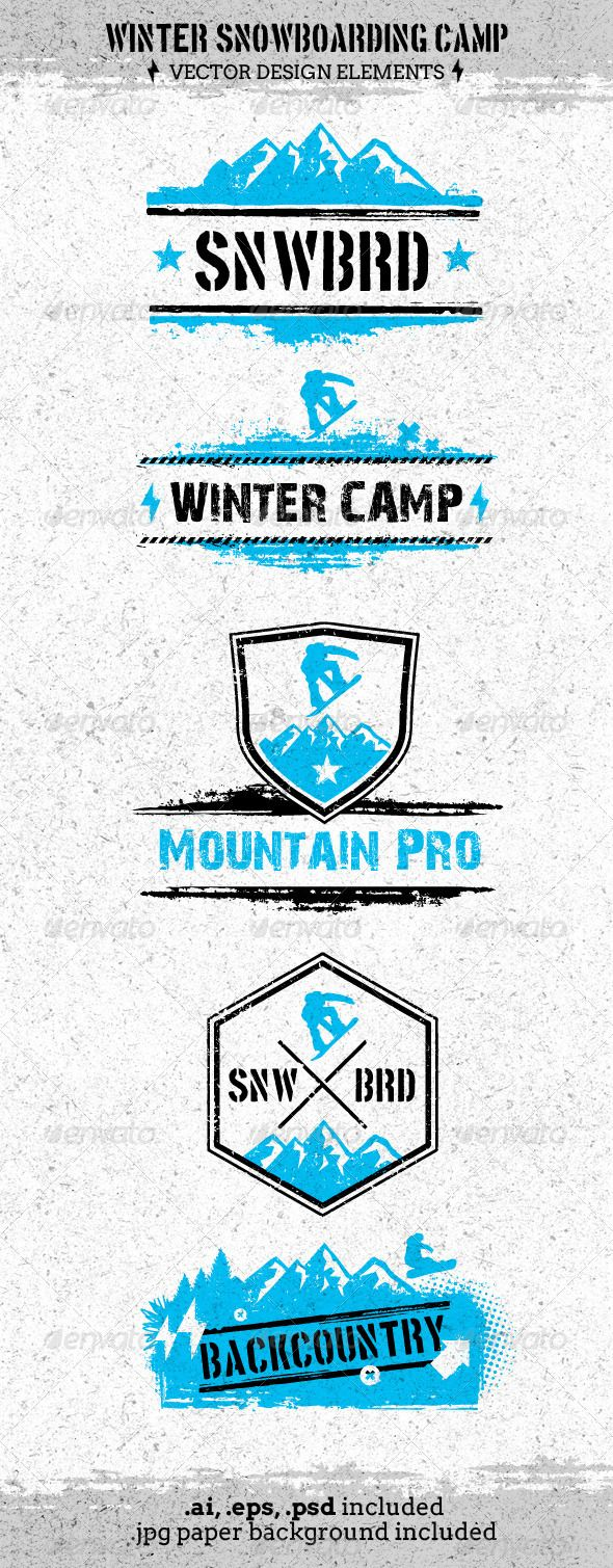 Winter Extreme Snowboarding Camp Vector