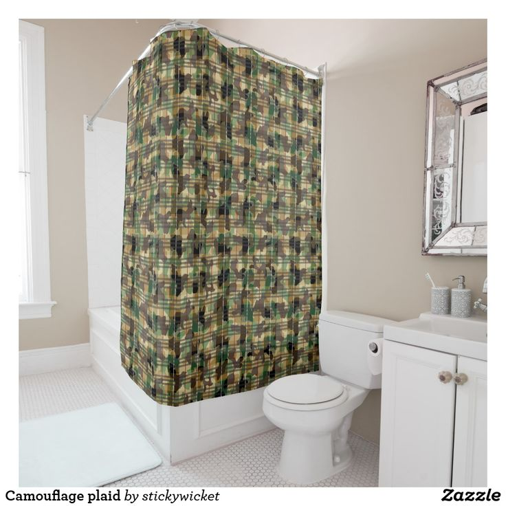 Camouflage plaid shower curtain