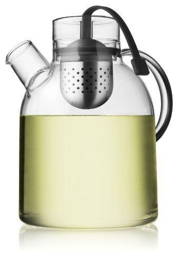 Menu Bouilloire Théière en verre avec infuseur à thé 1,5L: Théière transparente en verre au design parfait et concept astucieux : plus…