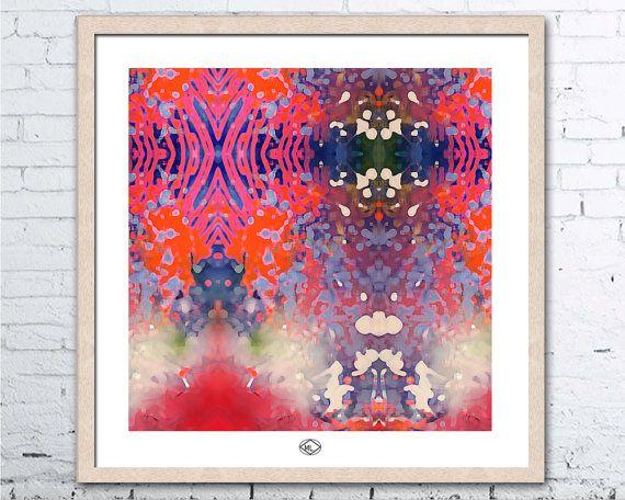 Art Print  Botanical Orange White Green Pink by MillyLillyArtistry