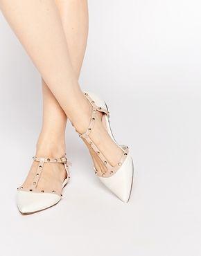 Zapatos planos en punta con tachuelas en blanco Heti de Dune