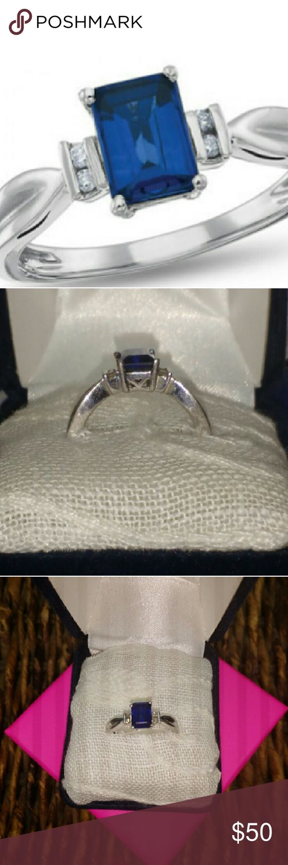 Real Blue Sapphire Diamond Ring *Beautiful Rectangular Sapphire Ring  *Sapphire with Emerald Cut Shaped Lab Created Blue Sapphire & Accented with 2 Diamonds   *Intricate & Uniquely Designed Sterling Silver Band  *Size 7 1/2   *OFFERS WELCOME*  TRADE ALSO* Samuels Jewelers Jewelry Rings
