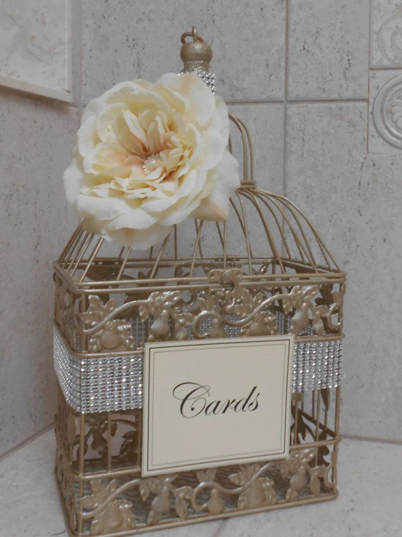 Small Champagne Gold Wedding Birdcage Card Holder / by ThoseDays