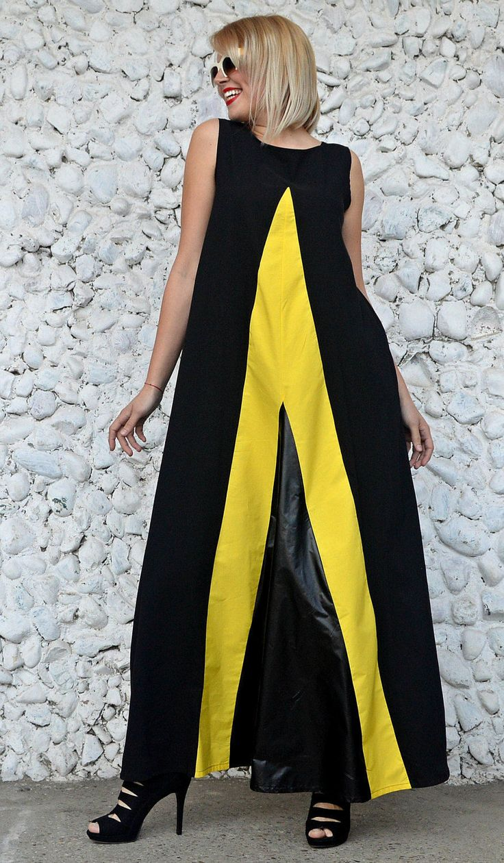 Only a few more left in stock! Extravagant Black Dress TDK235, Flared Cotton Dress with Yellow Stripes and Slicker Inset Shop now:  https://www.etsy.com/listing/515799975/extravagant-black-dress-tdk235-flared?utm_campaign=crowdfire&utm_content=crowdfire&utm_medium=social&utm_source=pinterest