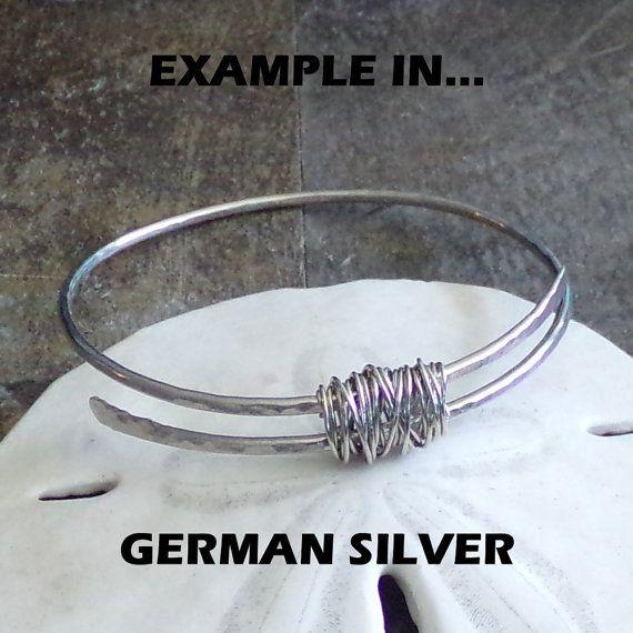 Sterling Silver Bangle FURLED Sterling Silver por StoneDelite