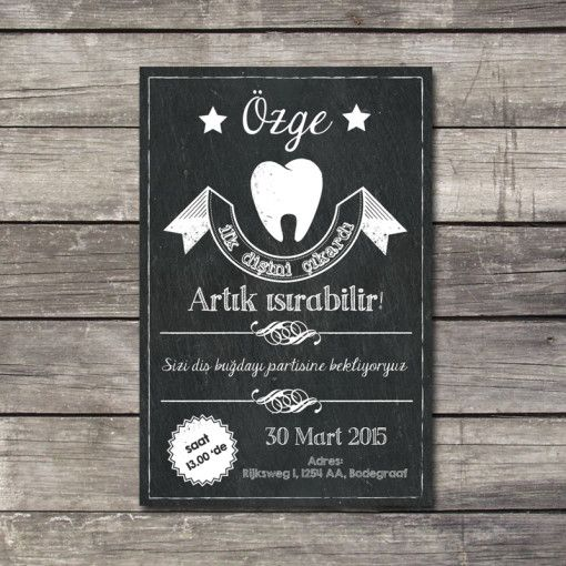 Eerste Tand Krijtbord, dişbuğdayı davetiye, first tooth card