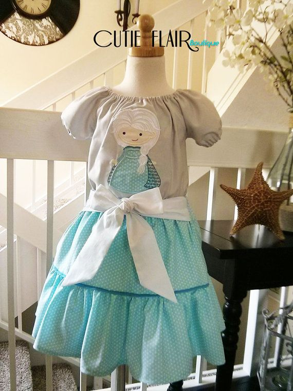 Frozen Queen Elsa Inspired Outfit Ruffle Skirt and Blouse with Applique Custom Boutique Girl Sizes 12M-5T