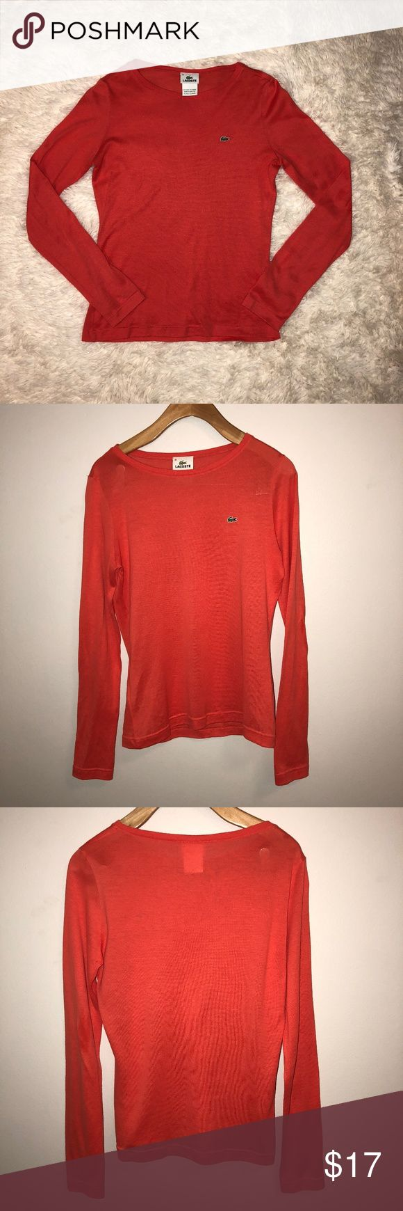 "LACOSTE Women's Long Sleeve Salmon T-Shirt Size 38 LACOSTE T-SHIRT  -SIZE 38 -CREWNECK  -SALMON COLOR -FITTED  -LONG SLEEVE -100% COTTON  APPROXIMATE MEASUREMENTS: -23.5"" TOP TO BOTTOM -18"" ARMPIT TO ARMPIT -24.5"" SLEEVE LENGTH  PRE-OWNED. EXCELLENT CONDITION. Lacoste Tops Tees - Short Sleeve"