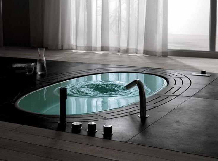 Omg tenk på det så kan man bygge opp en liten trapp  og så bygge inn badeksret så det blir som med et nedsenket badekar. Det er som spa, bare diggere! Æææ