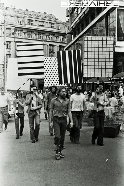 Grupa TOK,Protest Performance, sERBIA '73. via tumblr: Serbia 1973, Serbia 73, Minimal Patterns, Performance Art, Tok Performance, Art Installations, Protest Signs