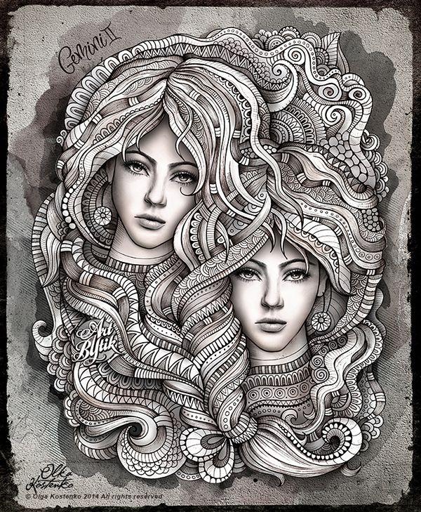 Zodiac ~ Gemini by Olka Kostenko on Behance