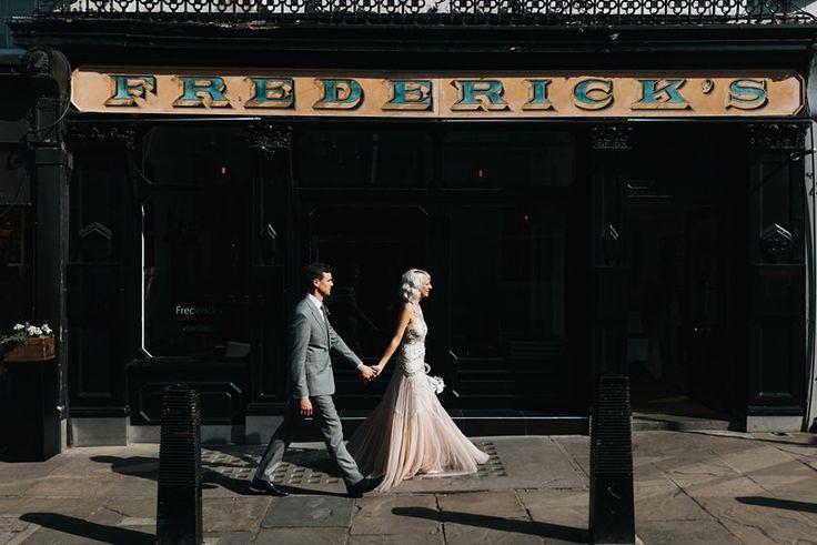 Islington wedding at Fredericks, bride in Needle & Thread embellished sequin wedding dress. Modern London wedding photography by Miss Gen