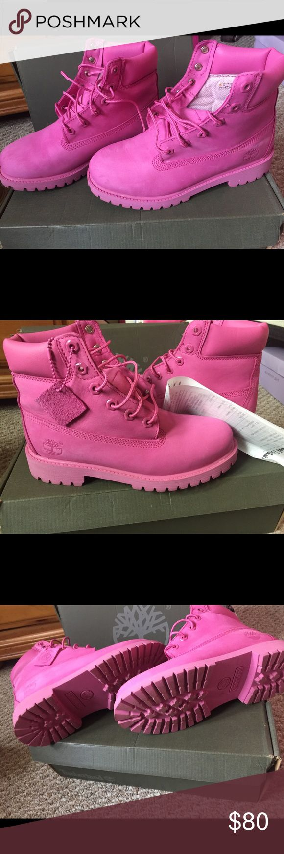 Genuine Leather Timberland Boots 💕Hello to all the pink lovers here I have these fabulous Timberland boots that can be paired with your fav pink or white top for the winter. I wore these a few times but the are in very good condition.💕 Timberland Shoes Lace Up Boots