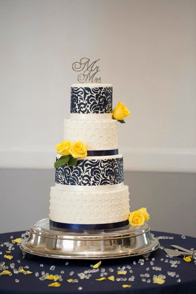 wedding cakes navy blue and yellow wedding cake navy yellow and white wedding 25069