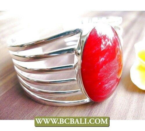 Red coral cuff bracelets silver