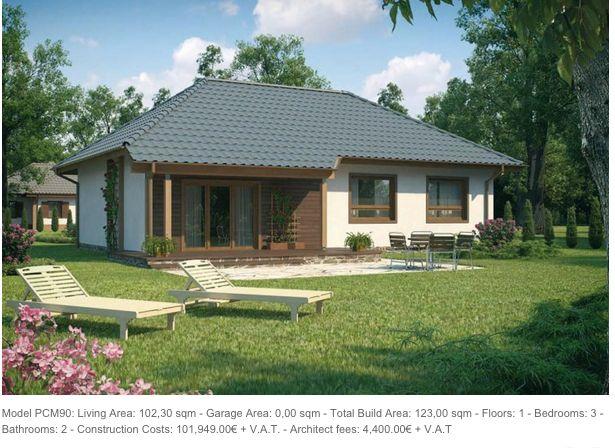 Model PCM90: Living Area: 102,30 sqm - Garage Area: 0,00 sqm - Total Build Area: 123,00 sqm - Floors: 1 - Bedrooms: 3 - Bathrooms: 2 - Construction Costs: 101,949.00€ + V.A.T. - Architect fees: 4,400.00€ + V.A.T