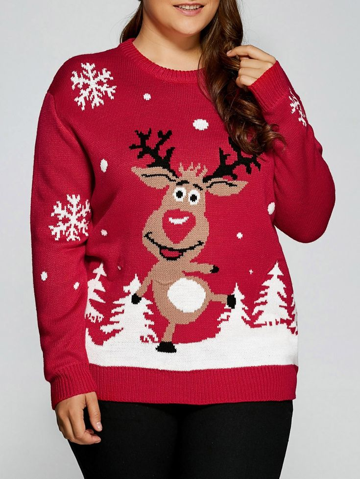 Plus Size Snowflake Fawn Christmas Sweater – Red – 3311442913