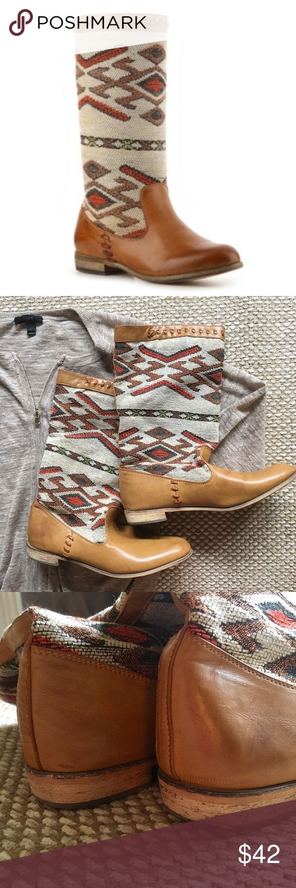 """Leather & Textile Aztec Boot Women's Wanted, sz11 Too cute Women's Wanted Leather and Textile Aztec boots! Woven prints and stitching details give this boot a rustic, vintage feel that is sure to have all eyes on you. Size 11. Worn 1-2 times, EXCELLENT condition! Minor scuffing on toes. Small spot on heel. (See pics) As seen in Vogue Ganado-inspired print fabric and faux leather upper Burnished stitching accents 9"""" shaft height, pull on 13"""" calf circumference ¾"""" block heel Synthetic sole…"""