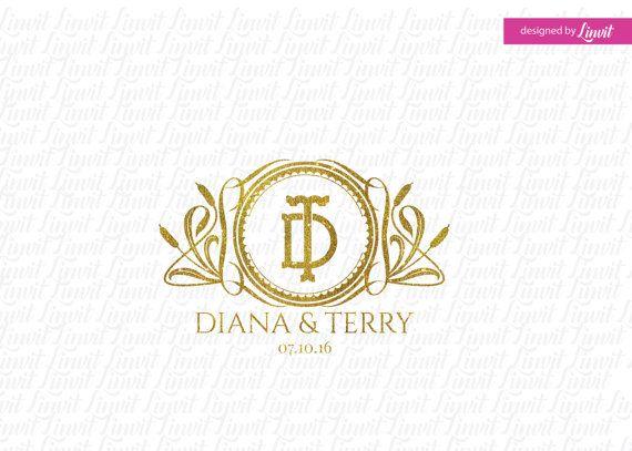 luxury wedding monogram wedding logo-wedding by Linvit on Etsy