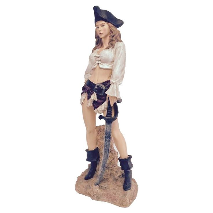 Life's a Beach Sexy Lady Pirate with Sword Standing on Coastal Rock Beach Collectible Statue