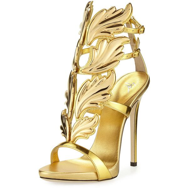 Giuseppe Zanotti Coline Wings Leather High-Heel Sandal featuring polyvore, women's fashion, shoes, sandals, sapatos, oro, ankle wrap sandals, high heel shoes, metallic platform sandals, ankle strap platform sandals and giuseppe zanotti sandals