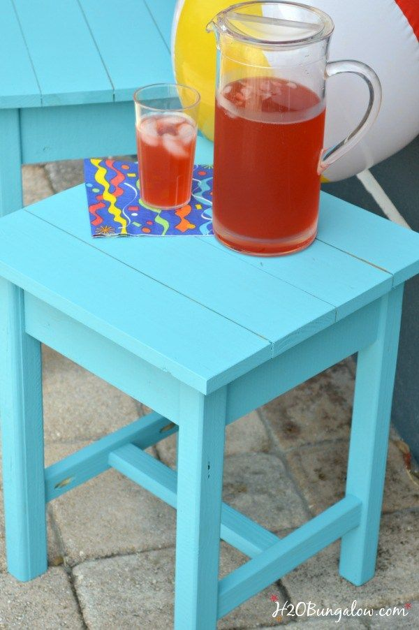 Easy DIY patio table plans and tips to build Aiderondack style wood outdoor tables for about $10 each. Detailed instructions and links to tools used