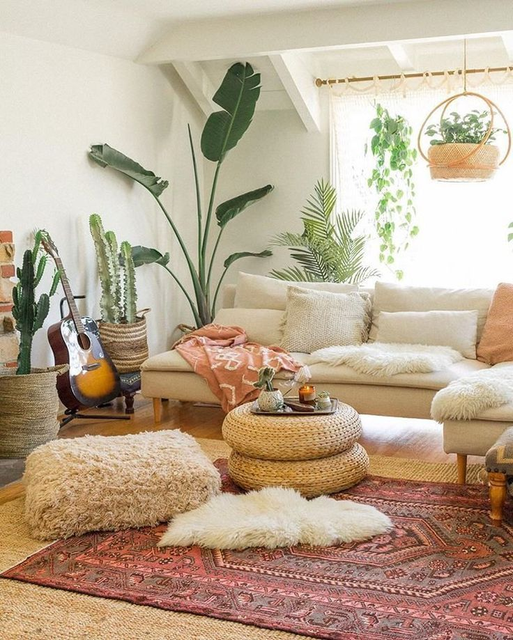 Living Room Interior Design Home Decor Bohemian Style Modern Indoor Plants Neutral Bohemia In 2020 Eclectic Living Room Rooms Home Decor Living Room Style #neutral #bohemian #living #room