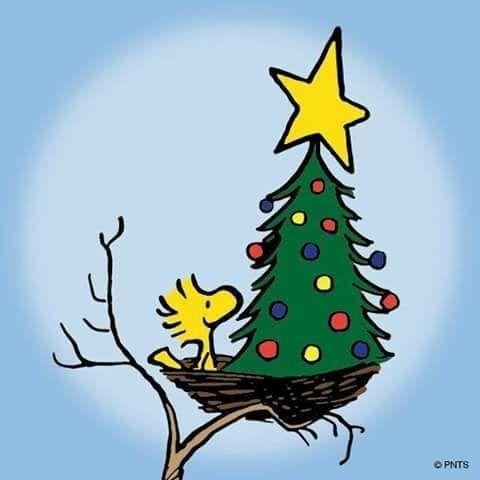 Woodstock with Christmas tree in his birdnest. Cute art illustration cartoon.