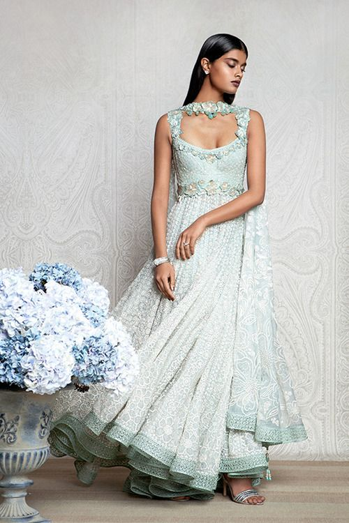 pastel blue designer anarkali with white and floral embroidery. #anarkali #blueanarkali #designeranarkali