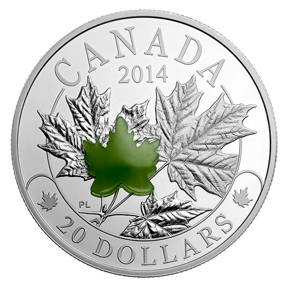 1 oz. Fine Silver Coin - Majestic Maple Leaves with Jade - Mintage: 8,500 (2014)