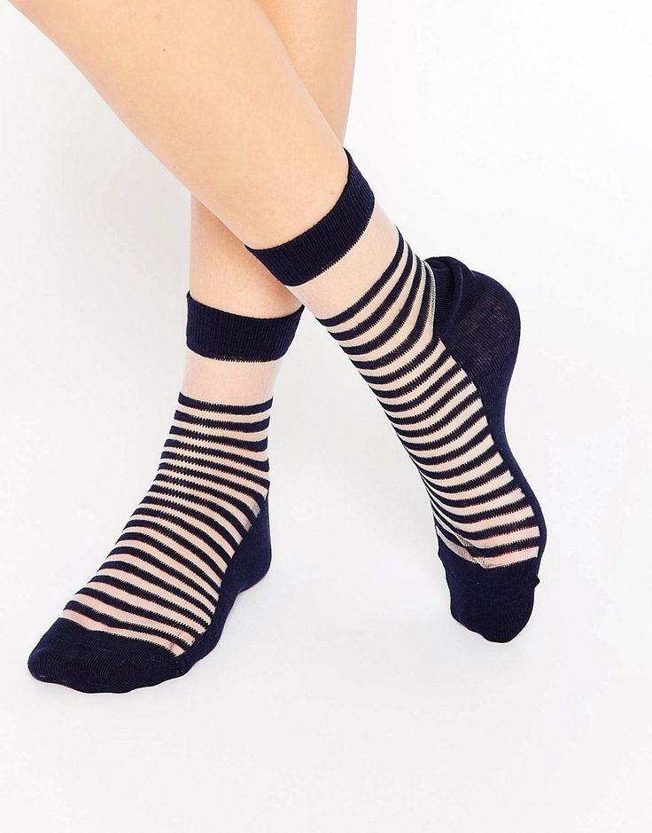 Image 1 ofASOS Bretton Stripe Sheer Ankle Socks