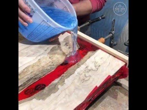Wie man einen Flusstisch herstellt – Epoxidharz mit LED-Leuchten – YouTube