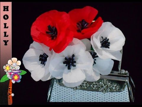 Tissue paper flowers tutorial : Pretty Poppies - YouTube