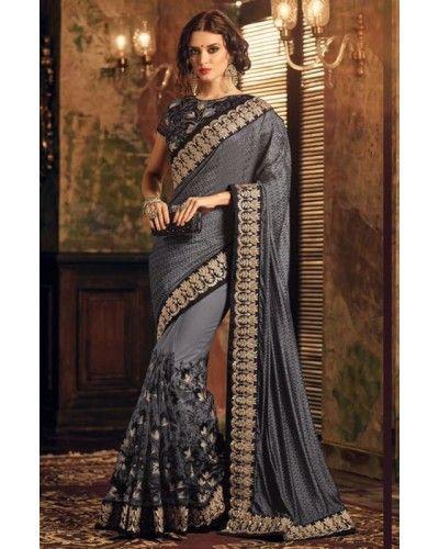 Slate Grey Embroidered Saree