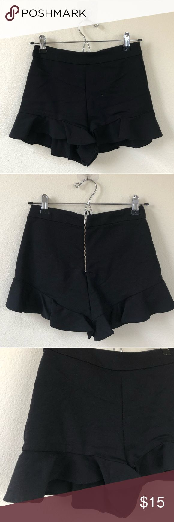 Zara Black Skorts with Frill details High waisted, super comfortable, and chic. It looks great with a lace top, bodysuits, or button ups. If you're a minimalist, a t-shirt looks great too.  Waist 12 1/2 inches  Length 13 1/2 inches  Fits true to size.  Like new. Worn twice. Zara Shorts Skorts