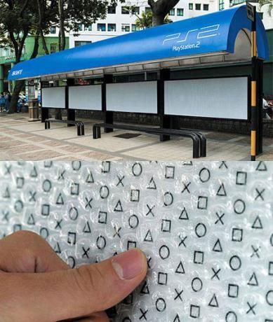 Playstation 2-This bus stop was covered in bubble wrap.