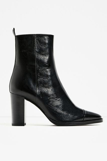 Patent leather will never steer you wrong. Zara Leather High Heel Ankle Boots, $119, available at Zara.