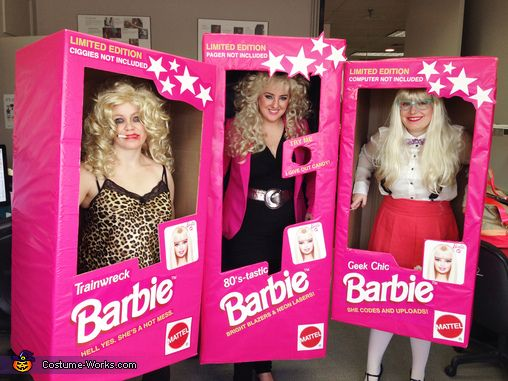 Amanda: Our graphics department at work decided to go as all different Barbie dolls complete with boxes! We handmade each of our costumes with wardrobe boxes, then wrapped them in pink...