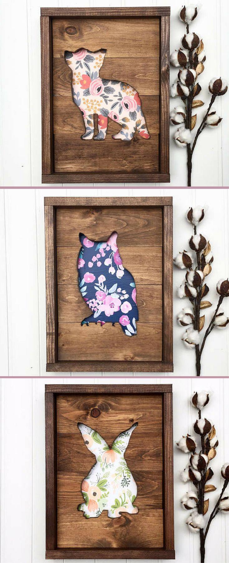 Woodland nursery art, Fox sign, Owl sign, bunny rabbit sign, Nursery wooden decor, Wood sign, home decor, Animal cutout wood, Rustic Nursery decor, Baby shower gift idea, floral nursery sign #ad