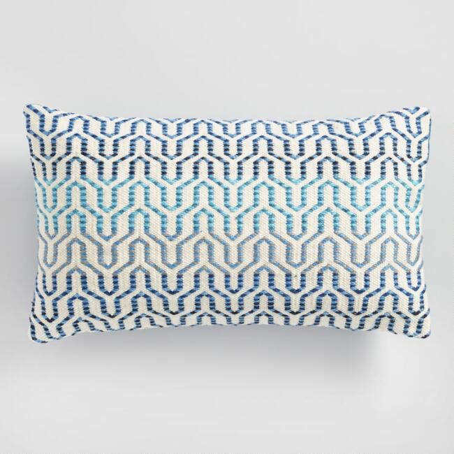Featuring A Blue Ombre Geometric Link Design On The Front And A Solid Blue Back Our Wo Outdoor Chair Cushions Comfy Throw Pillow Affordable Decorative Pillows