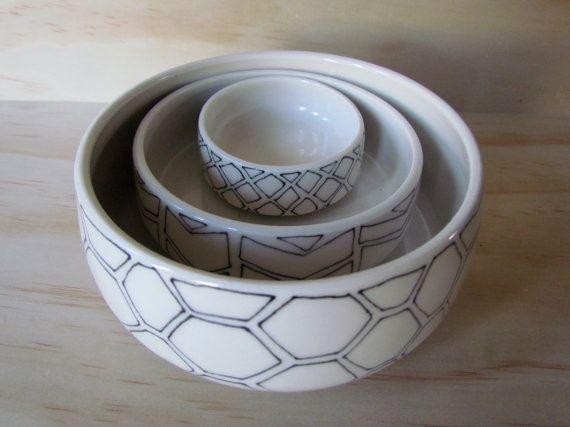 Black and White Nesting Bowls with Shapes. Set of three bowls. Geometric etsy.com