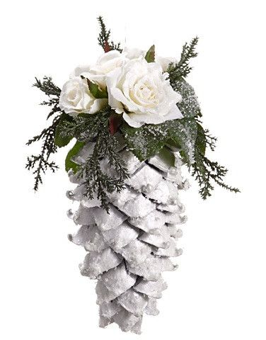 """From the Snow Drift Collection Item #XN0102-CR Features a glitter drenched large pine cone accented with white roses Fully dimensional ornament Comes ready-to-hang on a clear cord Dimensions: 9.5""""H x"""