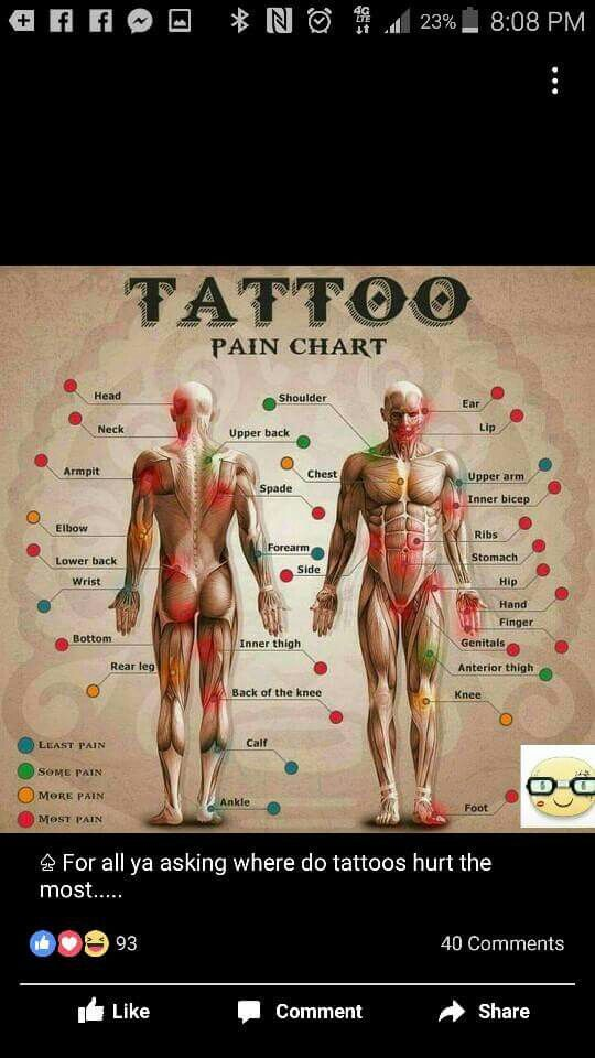 Tattoo pain chart | Body Art #ink | Tattoo pain chart ...