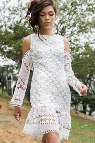 6f05d0044 Resultado de imagem para RENDA FILE ALAGOANA | Vestido em Renda Filecolor |  Dresses, Shoulder dress e Cold shoulder dress